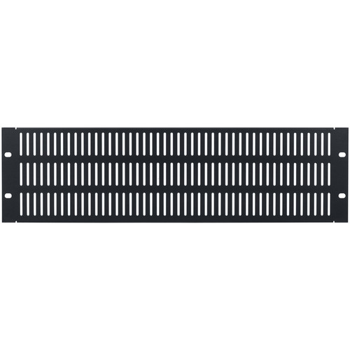 Lowell Manufacturing Rack Panel-Vented-3U, 18-Gauge Flanged Slotted Stee (Black)