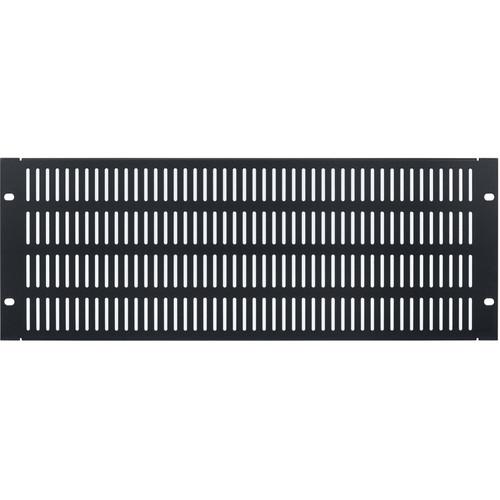 Lowell Manufacturing Rack Panel-Vented-4U, 18-Gauge Flanged Slotted Steel (Black)