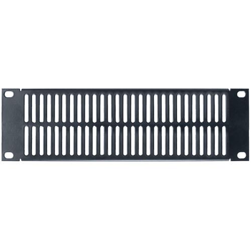 Lowell Manufacturing Half Vent Panel, 2U, 18-Gauge Flanged Steel (Black)