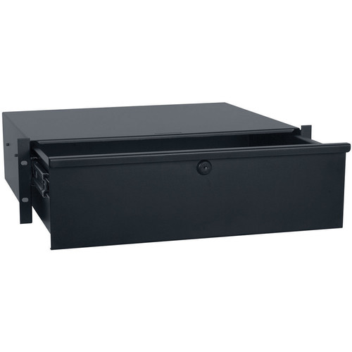 "Lowell Manufacturing 3U 15""Deep Rackmount Locking Utility Drawer (Black Powder)"