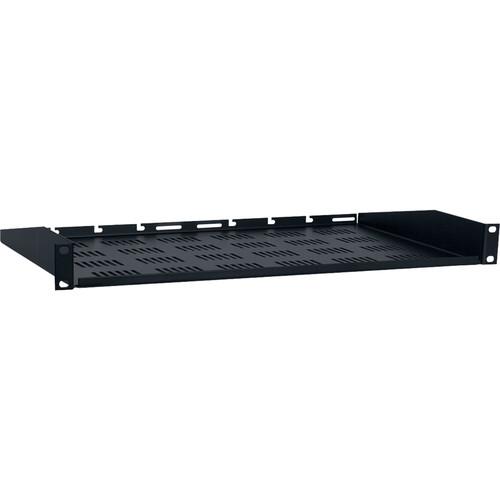 "Lowell Manufacturing Vented Rack Utility Shelf-1U, 10""Depth (Black)"