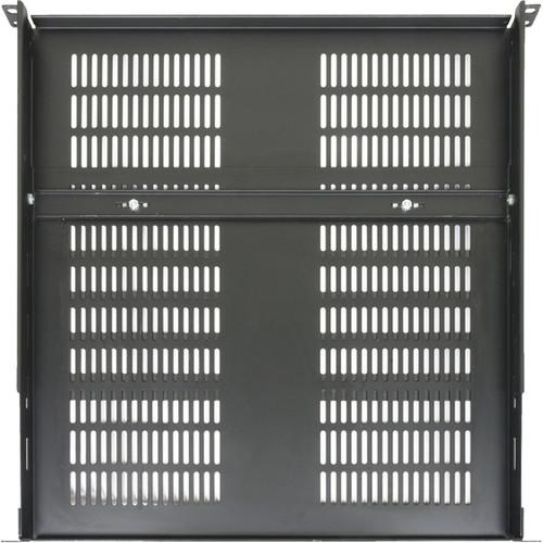 "Lowell Manufacturing Rack Shelf-1U, Adjustable Depth from 15.25-25"" (Black)"
