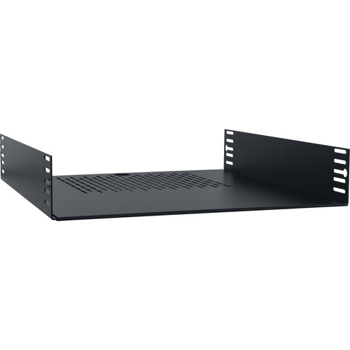 "Lowell Manufacturing Rack Shelf-2U, 18"" Deep, Adjustable Width from 17.5-22"" (Black)"