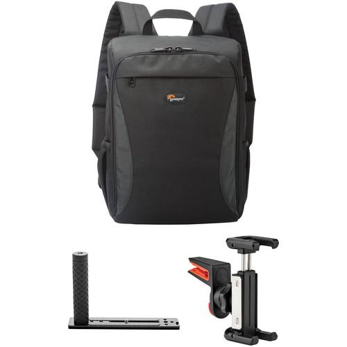 Lowepro Format Backpack 150 Kit with DSLR Hand Grip & Smartphone Clip (Black)