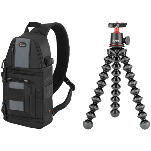 Lowepro SlingShot 102 AW Black Camera Bag and Joby GorillaPod 3K Flexible Mini-Tripod with Ball Head Kit