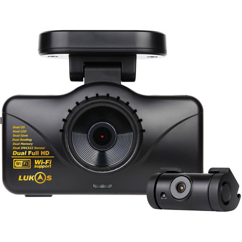 Lukas 1080p Wi-Fi Front and Rear Dash Camera with GPS