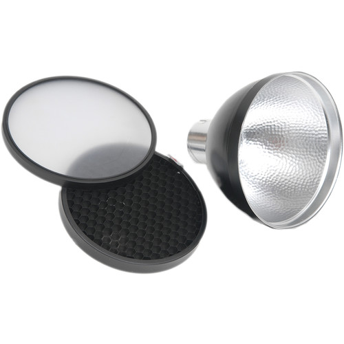 "Lumedyne 5"" Black Reflector with Grid and Diffuser"