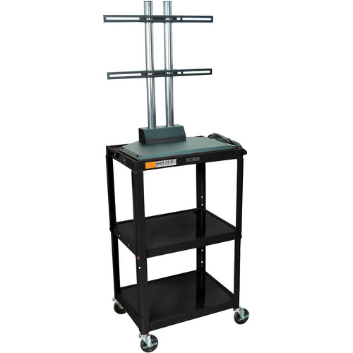 Luxor AVJ42DL-LCD Height Adjustable Steel A/V Cart with LCD Mount (Black)
