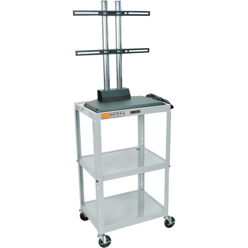 Luxor AVJ42DL-LCD Height Adjustable Steel A/V Cart with LCD Mount (Gray)