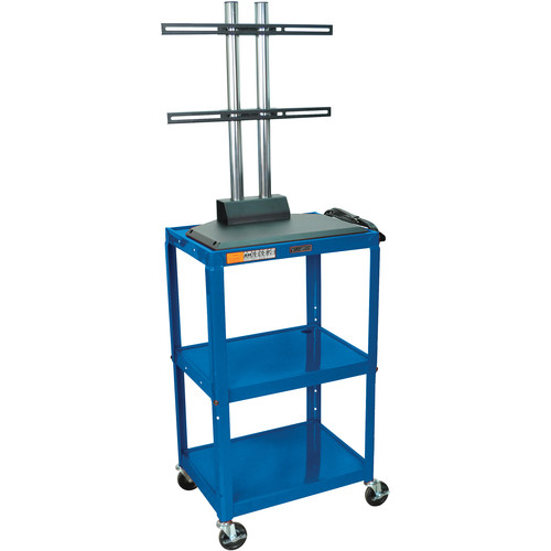 Luxor AVJ42DL-LCD Height Adjustable Steel A/V Cart with LCD Mount (Blue)