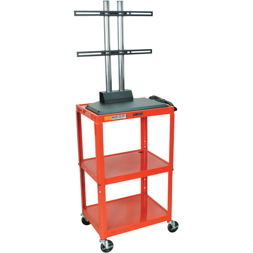 Luxor AVJ42DL-LCD Height Adjustable Steel A/V Cart with LCD Mount (Red)