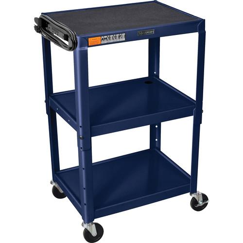 Luxor Steel Adjustable Height AV Cart with Three Shelves (Navy Blue)
