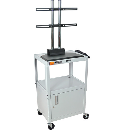 Luxor AVJ42CDL-LCD Steel Adjustable A/V Cart with Cabinet and LCD Mount (Gray)