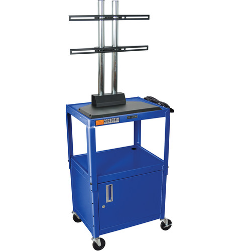 Luxor AVJ42CDL-LCD Steel Adjustable A/V Cart with Cabinet and LCD Mount (Blue)