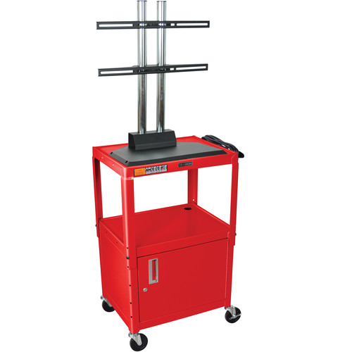Luxor AVJ42CDL-LCD Steel Adjustable A/V Cart with Cabinet and LCD Mount (Red)