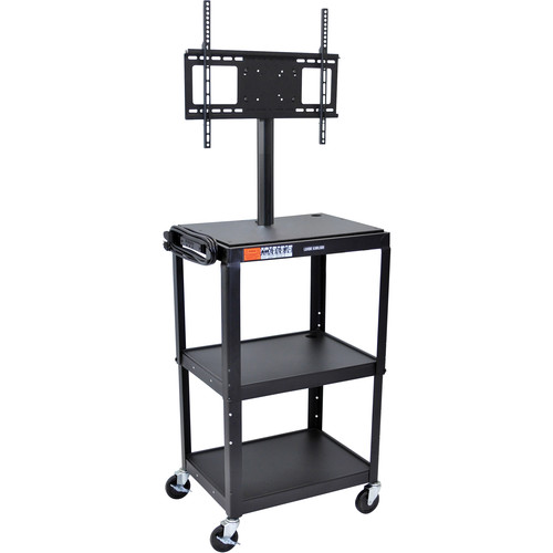 Luxor AVJ42C-LCD Steel Adjustable Height A/V Cart with LCD Mount (Black)