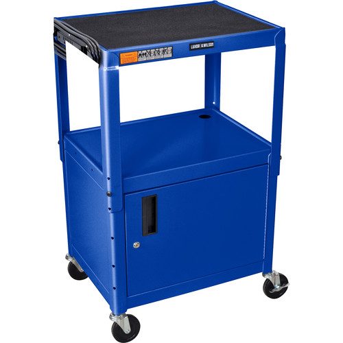 Luxor Adjustable Height Steel A/V Cart With Cabinet (Blue)