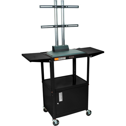 Luxor AVJ42CDL-LCD Steel Adjustable A/V Cart with Cabinet, LCD Mount, and Drop Leaf Shelves (Black)