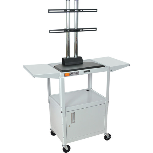 Luxor AVJ42CDL-LCD Steel Adjustable A/V Cart with Cabinet, LCD Mount, and Drop Leaf Shelves (Gray)