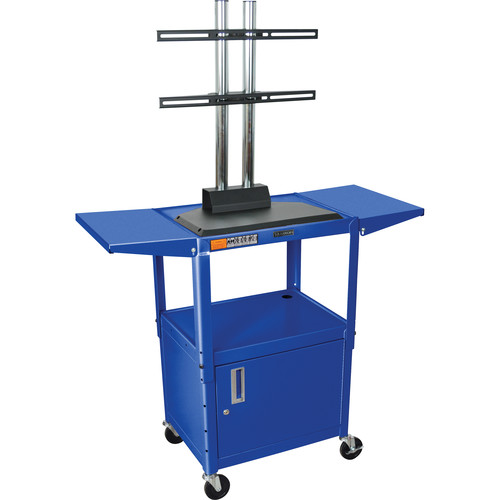 Luxor AVJ42CDL-LCD Steel Adjustable A/V Cart with Cabinet, LCD Mount, and Drop Leaf Shelves (Blue)