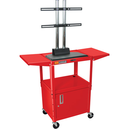 Luxor AVJ42CDL-LCD Steel Adjustable A/V Cart with Cabinet, LCD Mount, and Drop Leaf Shelves (Red)