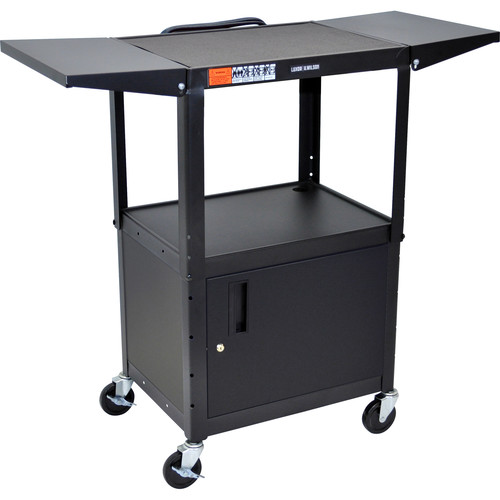 Luxor Steel Adjustable A/V Utility Cart with Cabinet & Drop Leaf (Black)