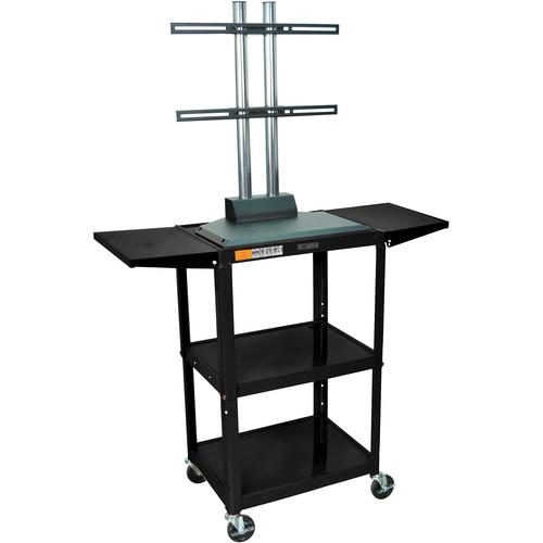 Luxor AVJ42DL-LCD Steel Adjustable A/V Cart with LCD Mount and Drop Leaf Shelves (Black)