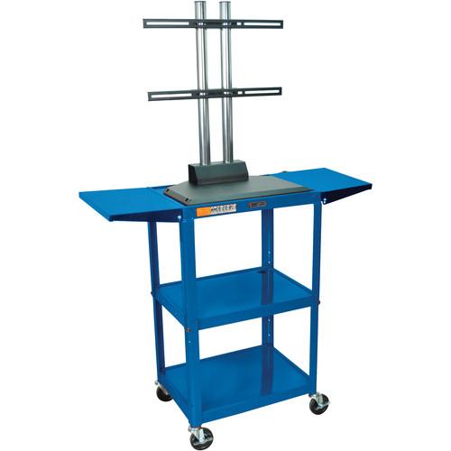 Luxor AVJ42DL-LCD Steel Adjustable A/V Cart with LCD Mount and Drop Leaf Shelves (Blue)