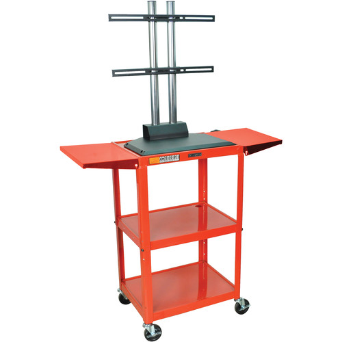 Luxor AVJ42DL-LCD Steel Adjustable A/V Cart with LCD Mount and Drop Leaf Shelves (Red)