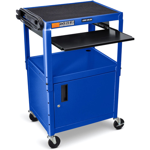 Luxor Adjustable-Height Steel AV Cart with Keyboard Tray and Cabinet