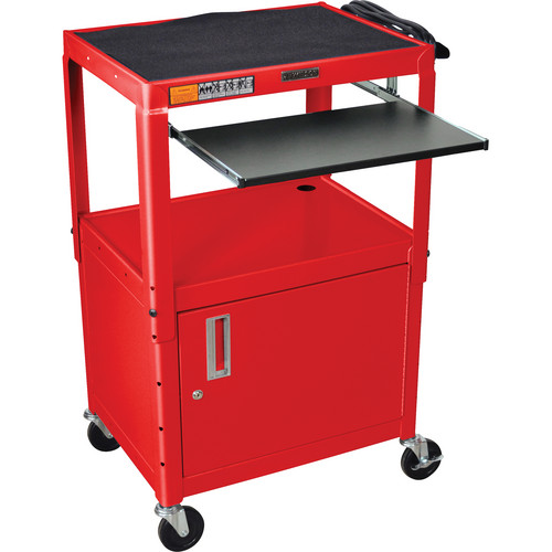 Luxor Adjustable Height Steel A/V Cart with Keyboard Shelf and Cabinet (Red)