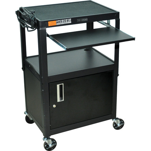 Luxor Adjustable Height Steel A/V Cart with Keyboard Shelf and Cabinet (Black)