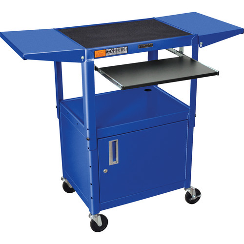 Luxor Adjustable Height Steel A/V Cart with Keyboard Shelf, Drop Leaf Shelves, and Cabinet (Blue)