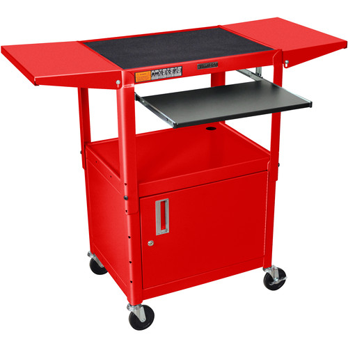 Luxor Adjustable Height Steel A/V Cart with Keyboard Shelf, Drop Leaf Shelves, and Cabinet (Red)