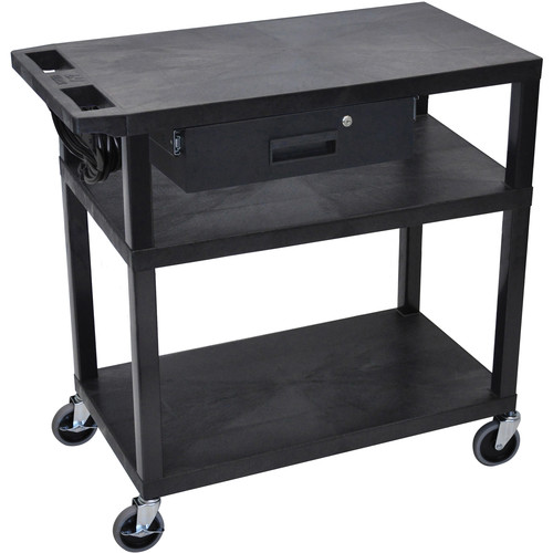 "Luxor EA34DE-B 34"" Fixed Height Presentation Cart (3 Shelves and Drawer)"