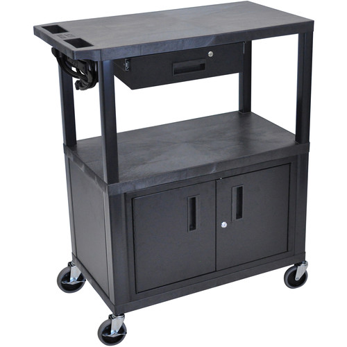 "Luxor EA42CDE-B 42"" Fixed-Height Presentation Cart (Three Shelves, Cabinet, and Drawer)"