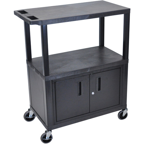 "Luxor EA42CE-B 42"" Fixed-Height Presentation Cart (Two Shelves, Pull-Out Shelf, and Cabinet)"