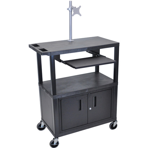 "Luxor EA42CLME-B 42"" Fixed-Height Presentation Cart (Two Shelves, Pull-Out Shelf, Cabinet, and Monitor Mount)"