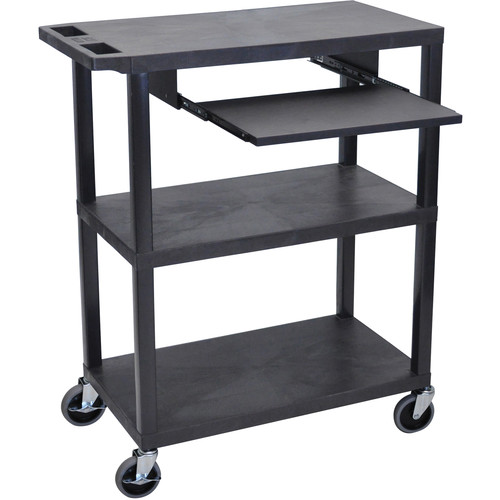 "Luxor EA42LE-B 42"" Fixed-Height Presentation Cart (Three Shelves, Pull-Out Shelf)"