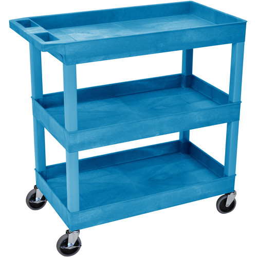 "Luxor 32 x 18"" Three-Shelf Utility Cart (Blue)"