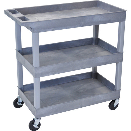 "Luxor 32 x 18"" Three-Shelf Utility Cart (Gray)"