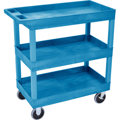 "Luxor 32 x 18"" Tub Cart with Three Shelves (Plastic, Blue)"