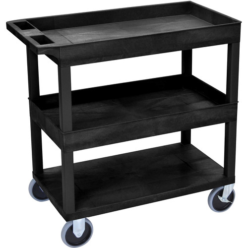 Luxor EC112HD-B 18 x 32 Cart (2 Tubs, 1 Flat Shelf, HD Casters, Black)
