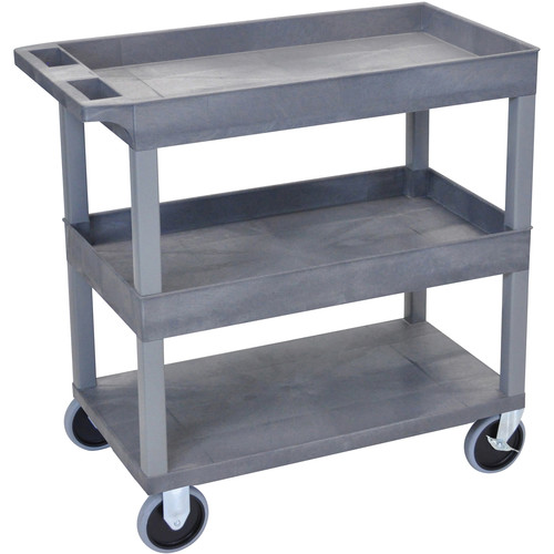 Luxor EC112HD-G 18 x 32 Cart (2 Tubs, 1 Flat Shelf, HD Casters, Gray)
