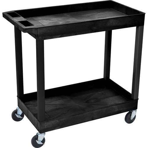 "Luxor 32 x 18"" Two-Shelf Utility Cart (Black)"