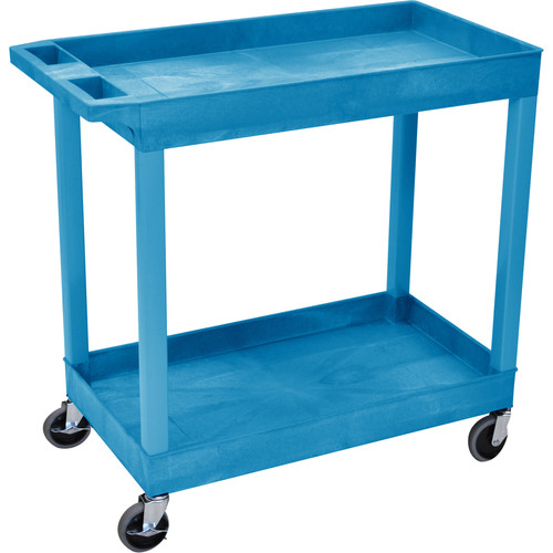 "Luxor 32 x 18"" Two-Shelf Utility Cart (Blue)"