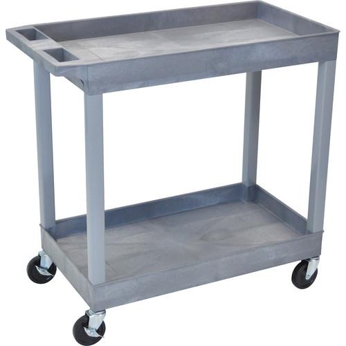 "Luxor 32 x 18"" Two-Shelf Utility Cart (Gray)"