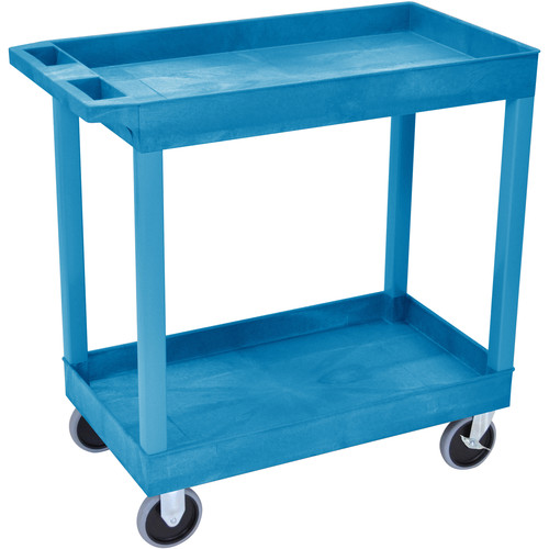 """Luxor 32 x 18"""" Tub Cart with Two Shelves (Plastic, Blue)"""