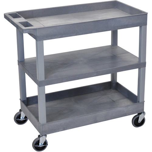 Luxor EC121-G 18 x 32 Cart (2 Tubs, 1 Flat Shelf, Grey)