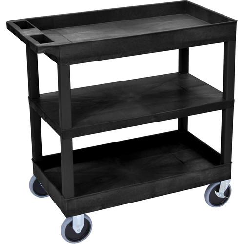 Luxor EC121HD-B 18 x 32 Cart (2 Tubs, 1 Flat Shelf, HD Casters, Black)